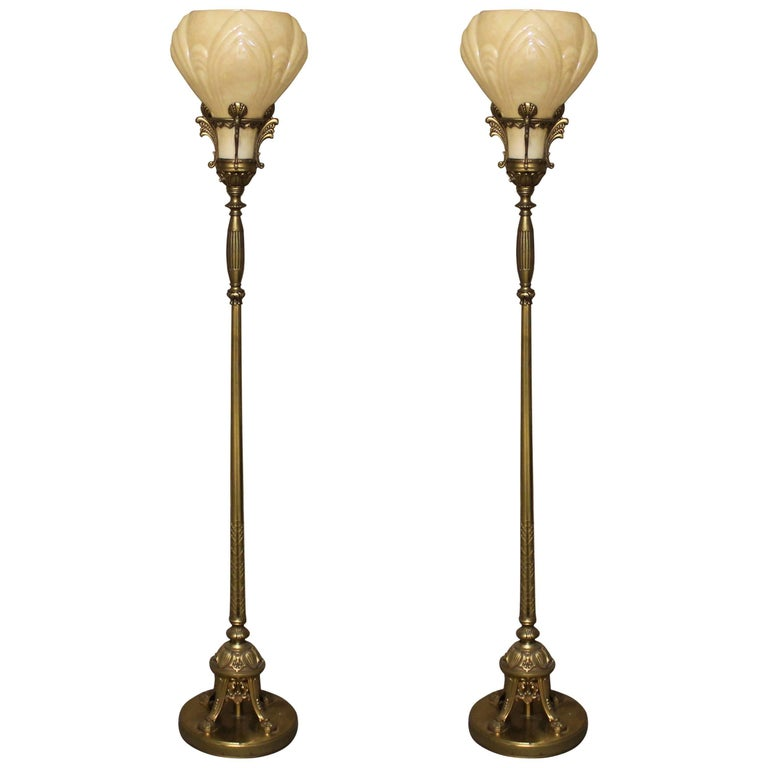 Pair of art deco torchiere floor lamps for sale at 1stdibs for Art deco floor lamp canada