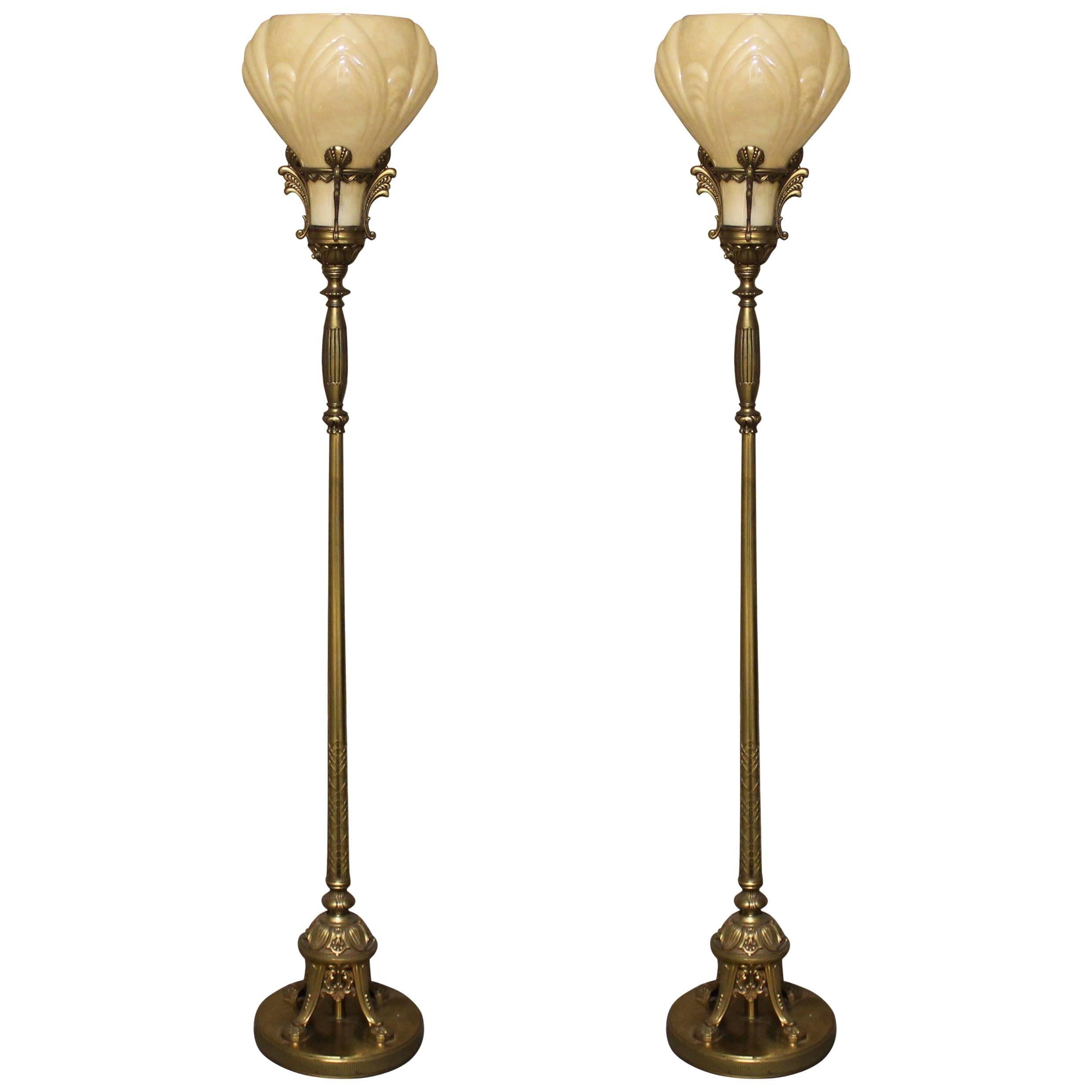 pair of art deco torchiere floor lamps