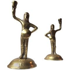 Antique 19th Century Bronze Figural Candlesticks of Tudor Knights in Armor, Set