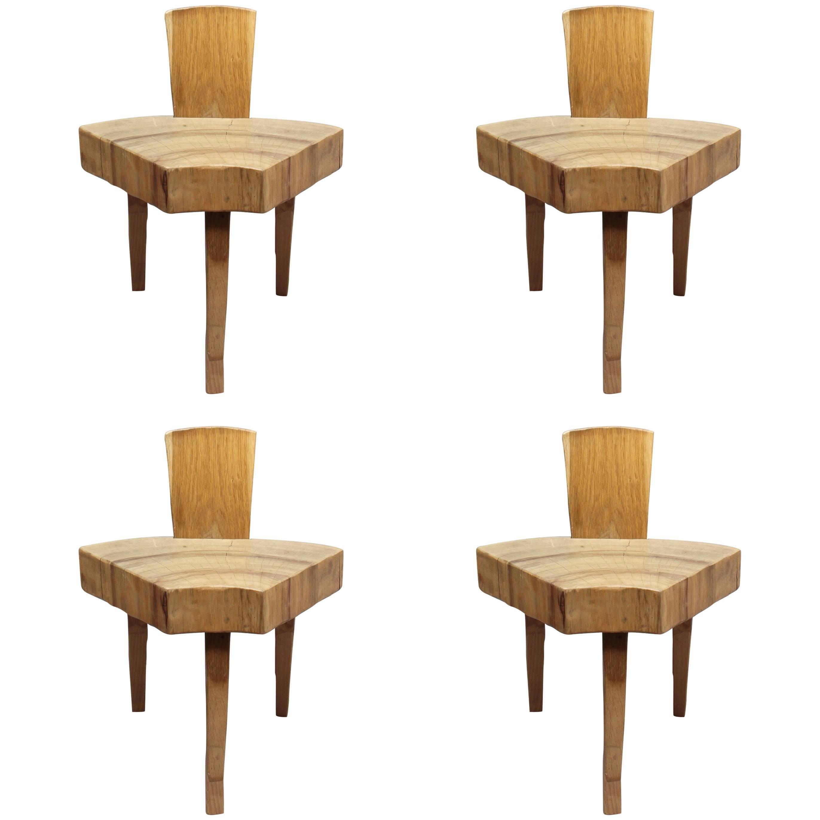 "4 French 1950's Organic ""Tree Trunk Slice"" Oak Chairs"
