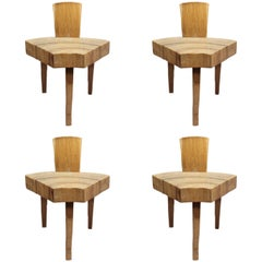 "4 French 1950's Organic ""Tree Trunk Slice"" Oak Chairs"