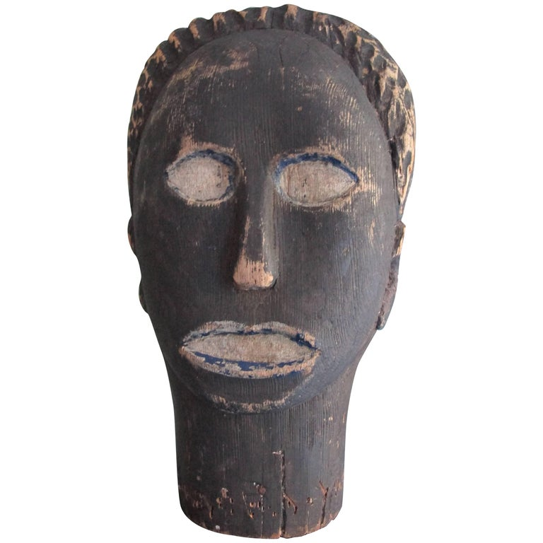 Black Wood Head Folk Art Sculpture