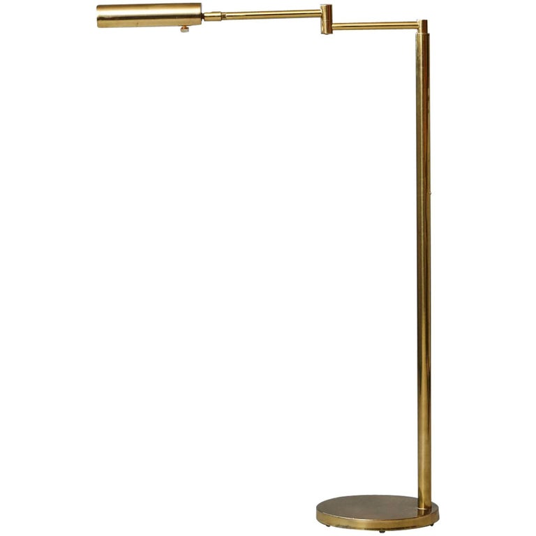 Brass Floor Lamps With Swing Arm: Height Adjustable Brass Swing Arm Floor Lamp By Koch And