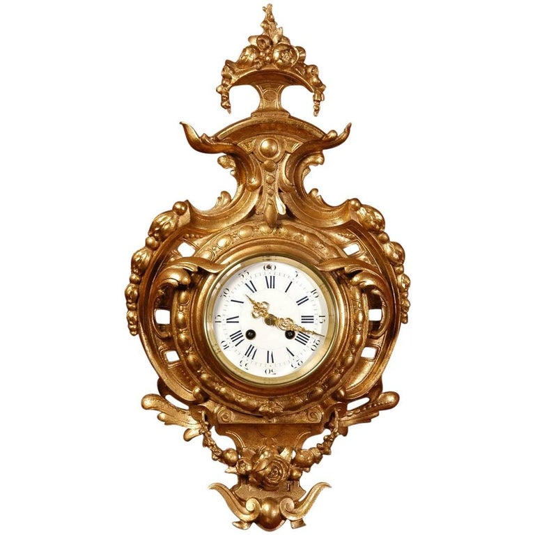 Japy Freres Gilt Cartel Wall Clock