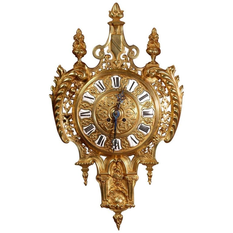 Antique French Gilt Bronze Cartel Wall Clock For Sale