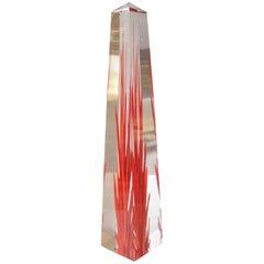 """Fulvio Bianconi Murano Glass """"Obelisk"""" Flame, Fiamma by Venini, Signed"""
