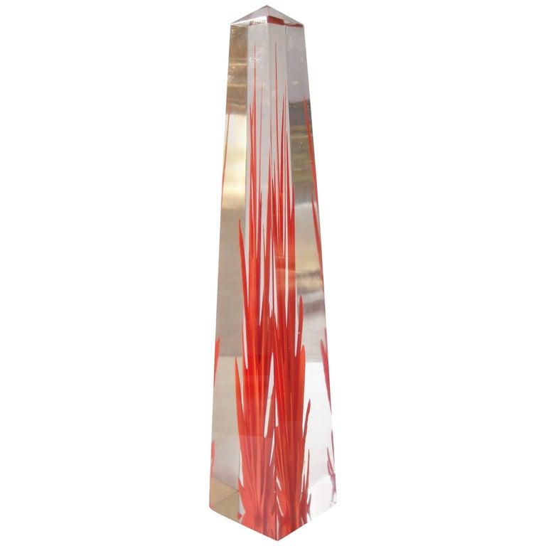 """Fulvio Bianconi Murano Glass """"Obelisk"""" Flame, Fiamma by Venini, Signed For Sale"""