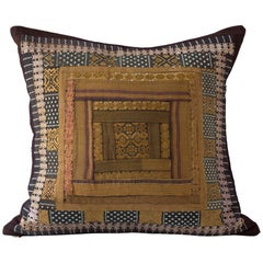 Concentric Square Embroidery Cushion, Bronze Gold Black