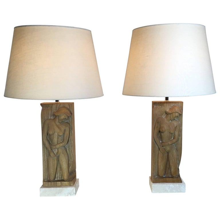 pair of midcentury carved wood table lamps for sale at 1stdibs. Black Bedroom Furniture Sets. Home Design Ideas