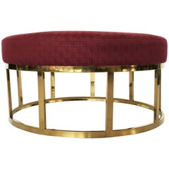 Upholstered Round Ottoman or Coffee Table with Solid Brass Base