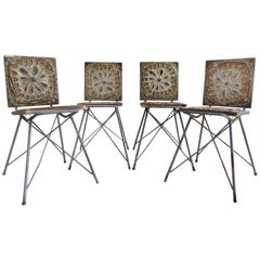 Mid-Century Modern Studio Pottery Chairs with Eiffel Tower Bases, Set of Four