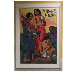 Stunning Interpretation Paul Gauguin Maternity Needlepoint Lucite Wall Hanging