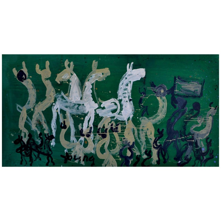 Large Abstract Painting of Horses on Kelly Green by Purvis Young