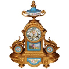 Japy Freres Sevres Porcelain and Gilt Metal Clock