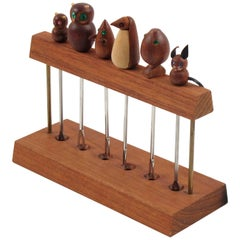 French Mid-Century Modern Teak Barware Cocktail Picks Carved Animals, 1960s