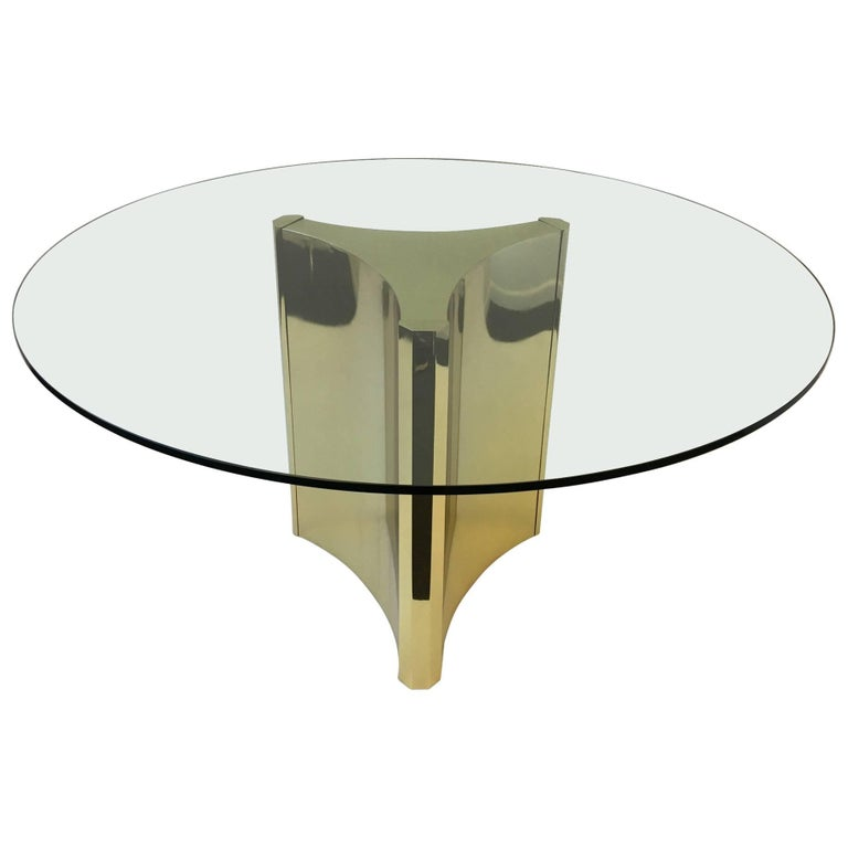Polished Brass and Glass Dining Table by Mastercraft