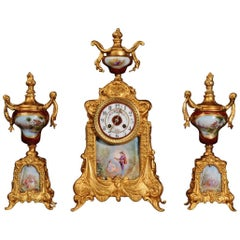 Sèvres Porcelain and Gilt Metal Clock Set