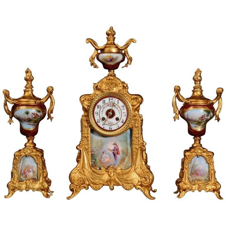 Sèvres Porcelain and Gilt Metal Clock Set
