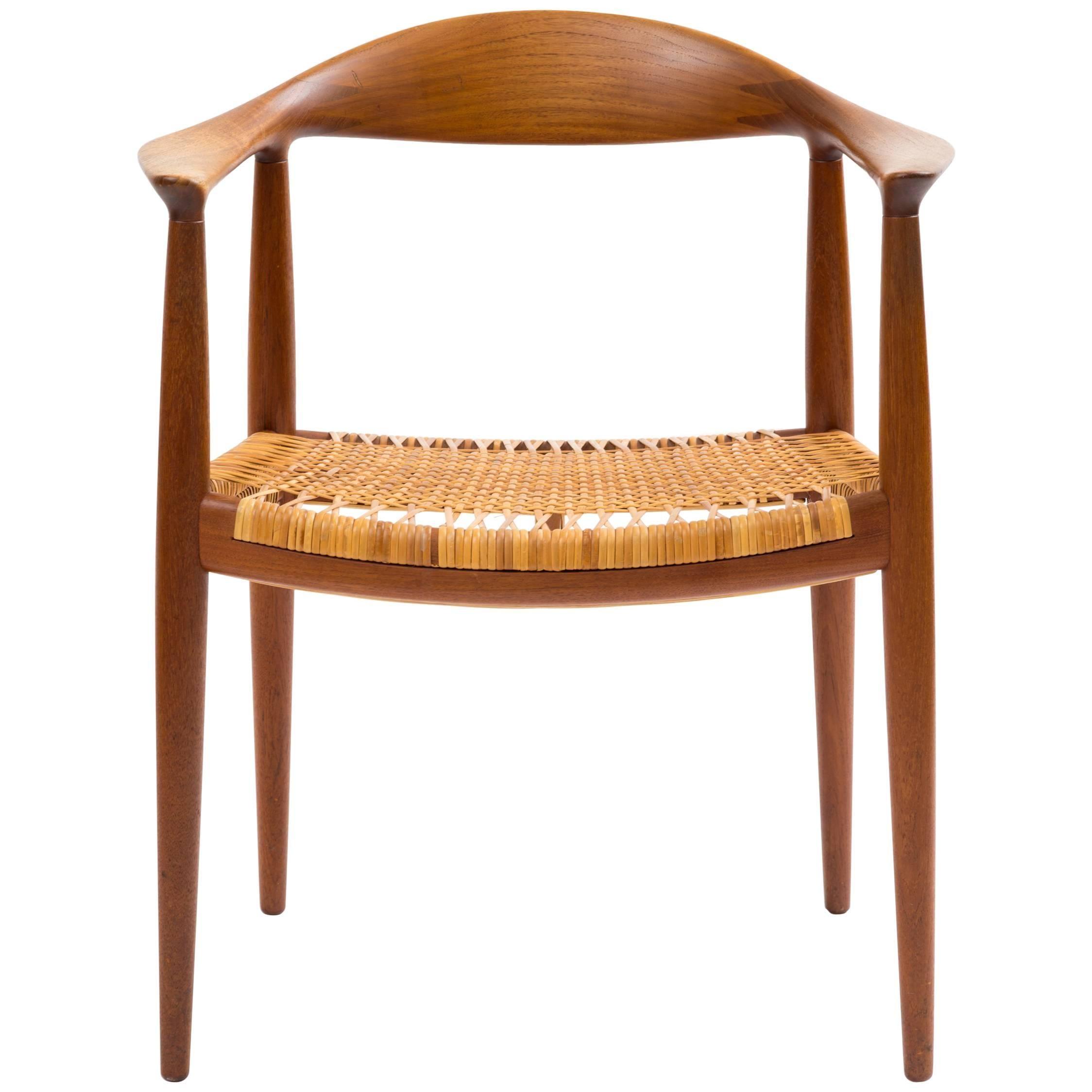 Hans J Wegner The Chair Model JH501 in Teak with Original Cane Seat