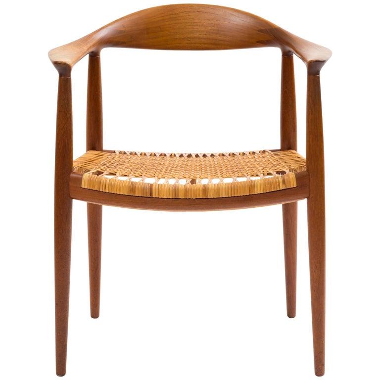 Hans J Wegner Round Chair in Teak with Original Cane Seat