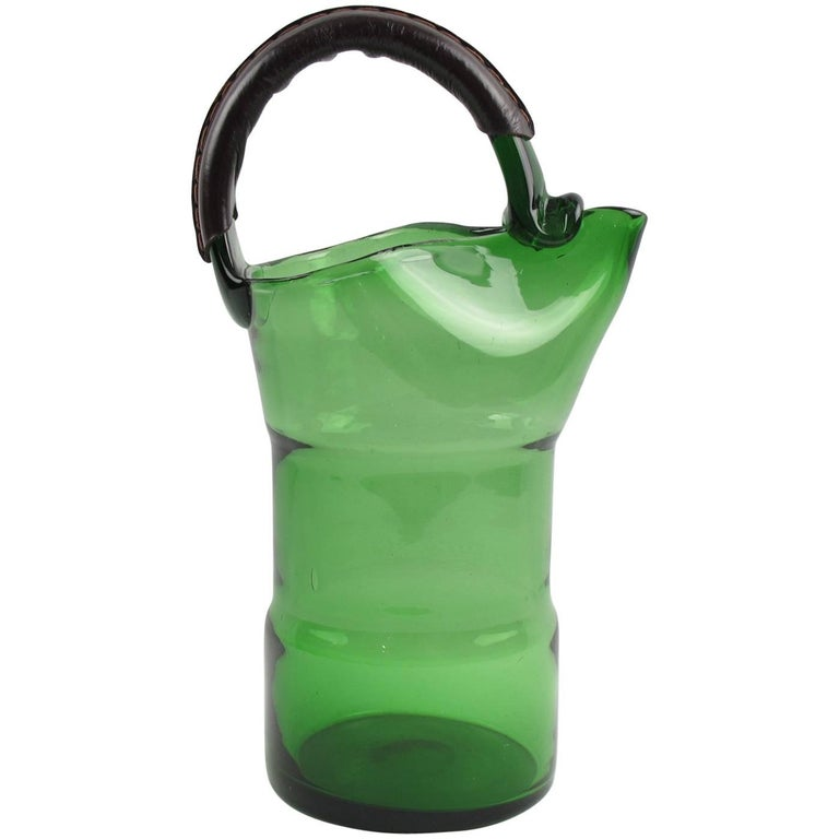 1960s Italian Mouth-Blown Glass Barware Pitcher and Hand-Stitched Leather Handle