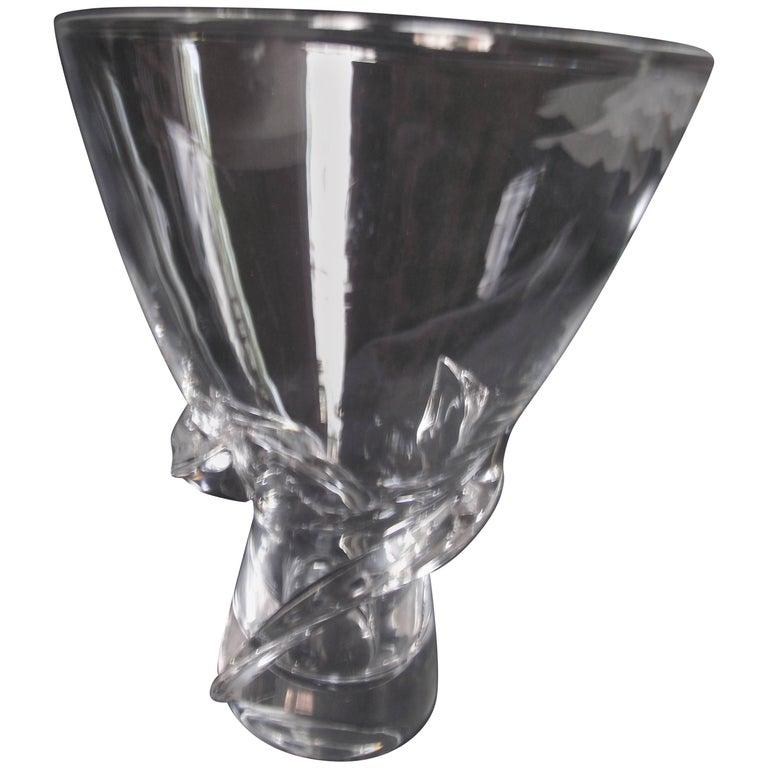 Signed Steuben Spiral Vase By Donald Pollard Vintage Steuben Glass