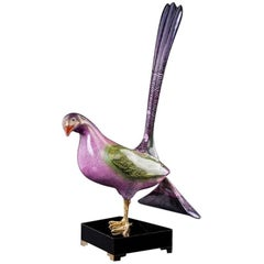 Pink Bird Sculpture by Mangani for the Oggetti Company, circa 1980