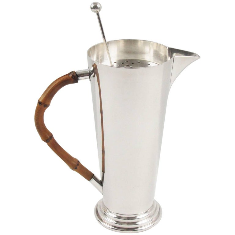 French Silver Plate and Bamboo Barware Cocktail Martini Pitcher and Spoon