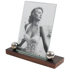 Art Deco Picture Photo Frame Macassar, Mahogany and Chrome Ball Accents, 1930s