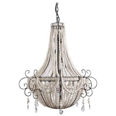 klaylife Twist, white handmade clay beaded chandelier, 21st Century