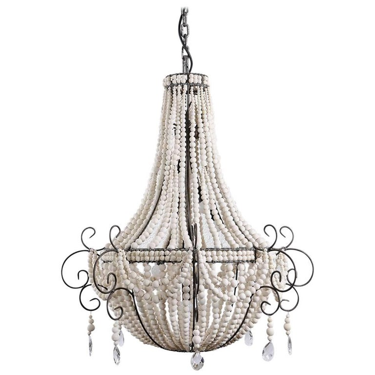 Klaylife Twist White Handmade Clay Beaded Chandelier 21st Century For