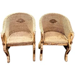 Pair of Deco Wicker Chair in Swan-Form
