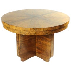 Large Art Deco Round Card Table in Walnut Veneer, circa 1930