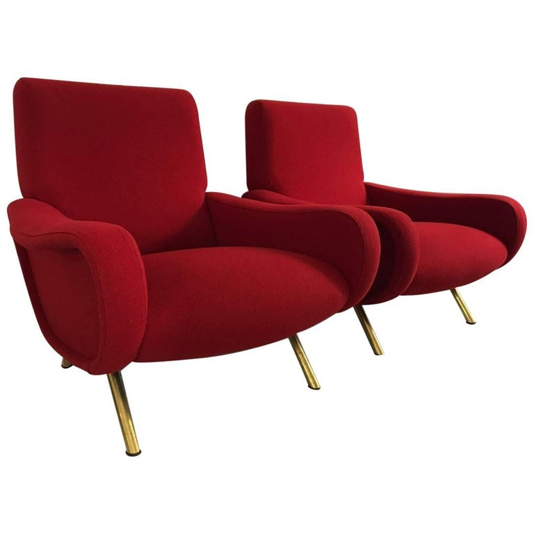 "Pair of ""Lady"" Armchairs by Marco Zanuso for Arflex For Sale"
