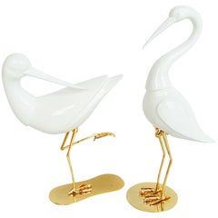 Rare Pair of French Brass and Ceramic Flamingos, 1970s