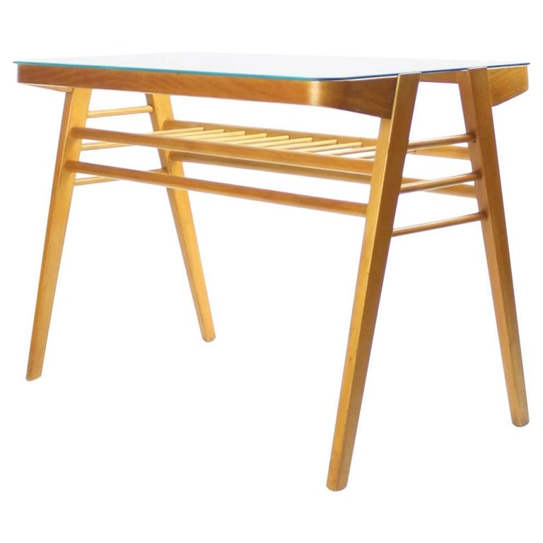 Mid Century Coffee Table In Beech With Glass Top By Tatra Circa 1960 For Sale At 1stdibs