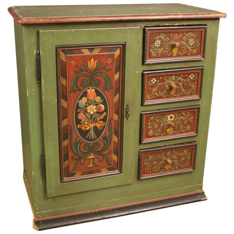 Antique German Cabinet Hand-Painted 1 - Antique German Cabinet Hand-Painted For Sale At 1stdibs