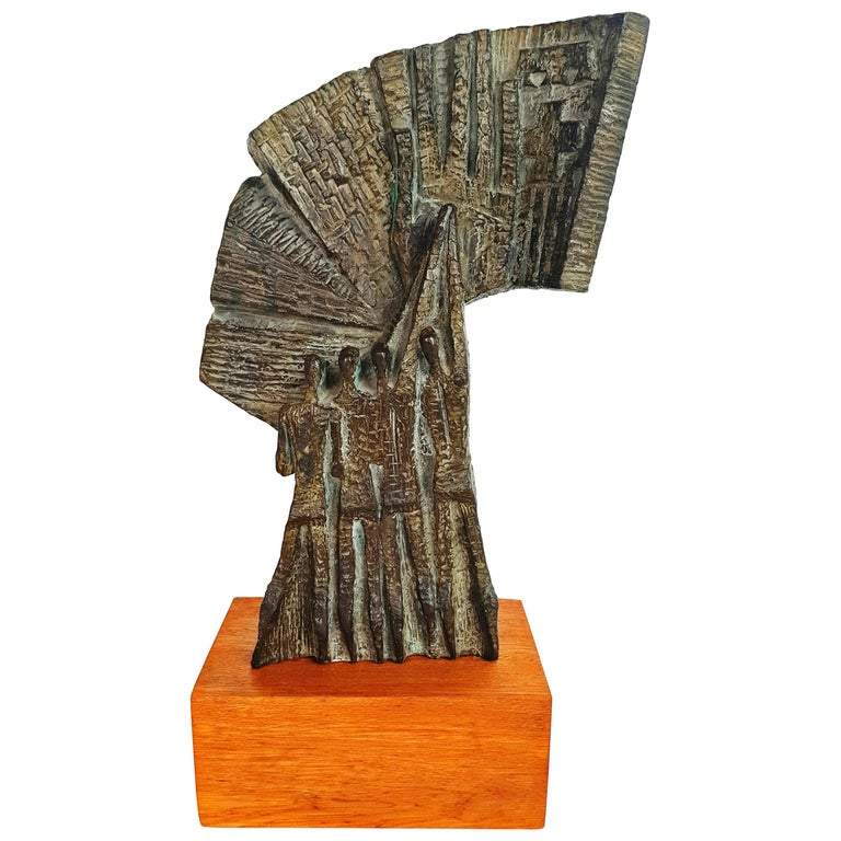 Large Brutalist and Modernist Bronze Sculpture Signed 1960s