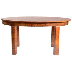 Large Art Deco Fold Out Dining Table in Walnut Veneer, Czechoslovakia, 1930s