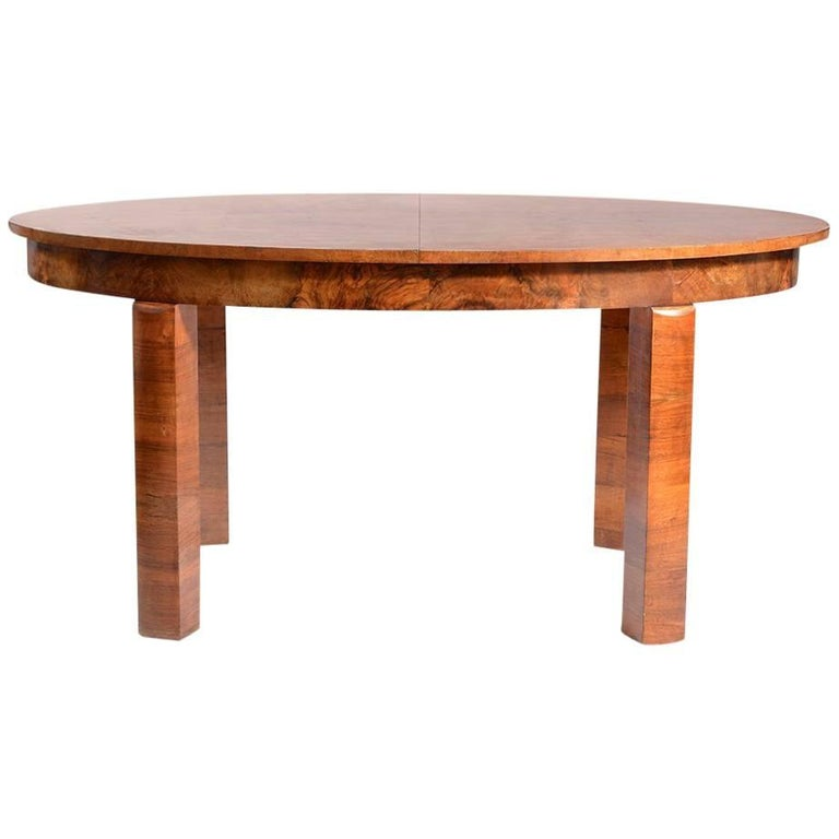 Large Art Deco Fold Out Dining Table in Walnut Veneer, Czechoslovakia, 1930s For Sale