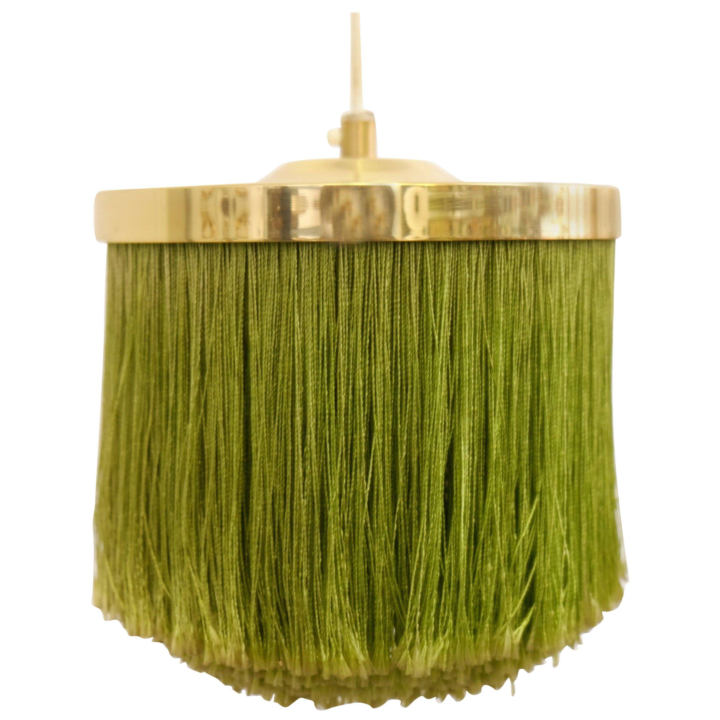 Hans-Agne Jakobsson Green Silk Fringe Pendant, 1960s
