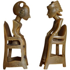 Indonesian Hand-Carved Out of Horn Wayang Dolls Sitting in Chairs Bali