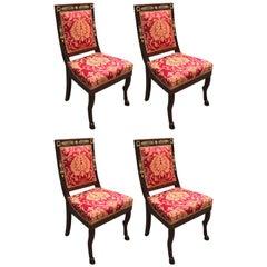Four Italian Empire Style Chairs Mahogany with Ormolu Mounts  1970 Circa
