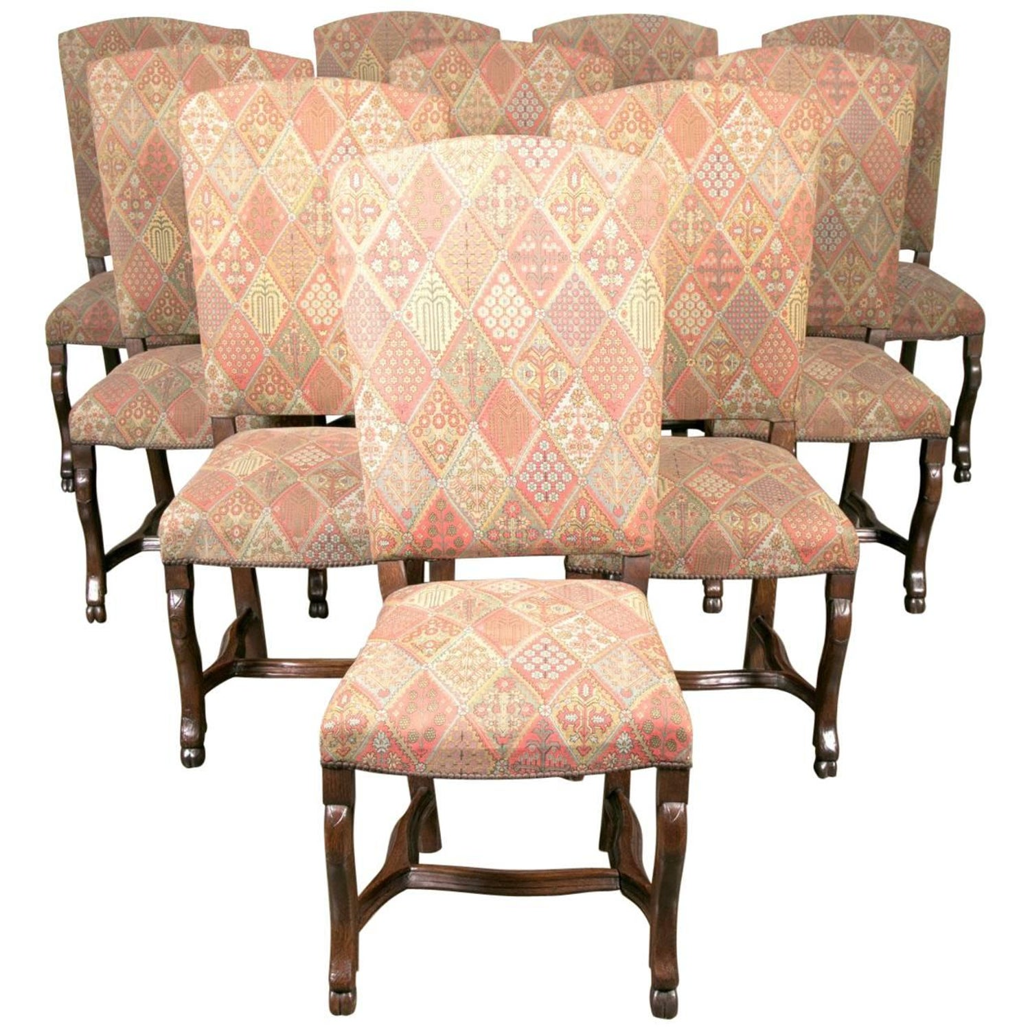 19th Century Set of Ten Louis XIV Style Dining Chairs For Sale at