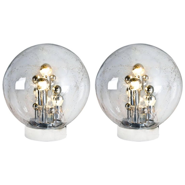 Pair of Large Handblown Bubble Glass Doria Table Lamps, 1970