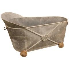 French Zinc Bath on Wheels, 19th Century