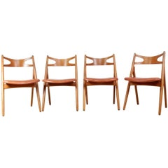 Oak Saw Back Chairs by Hans J Wegner, circa 1960