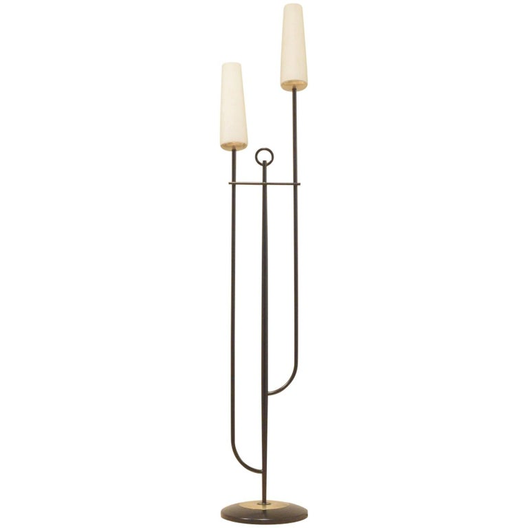 Midcentury french maison arlus two stems opaline glass for Floor lamp glass stem