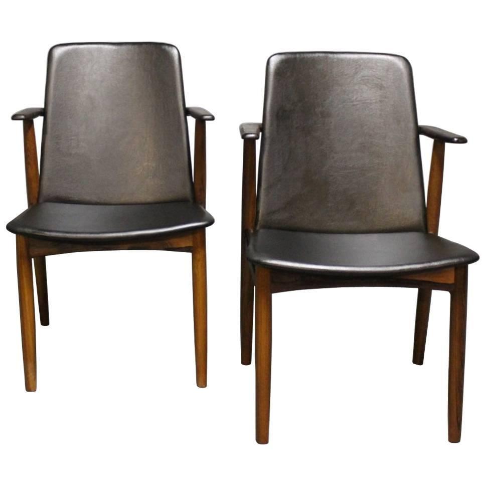 Pair of Armchairs in Rosewood by Hans Olsen, 1960s