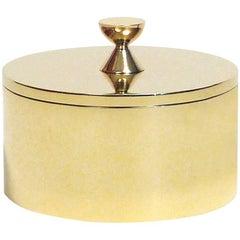Contemporary Round Solid Swedish Brass Modern Minimalist Artisan Box
